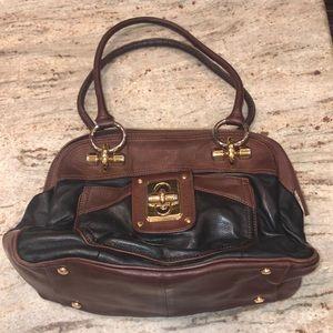 B makowsky black and brown genuine leather bag